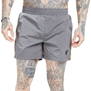 SikSilk Crushed Nylon Tape Swim Shorts Grey/Gold