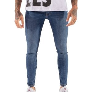 11 Degrees Super Stretch Skinny Jeans Mid Blue Wash
