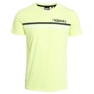Superdry Core Logo Sport Stripe T-Shirt Neon Yellow