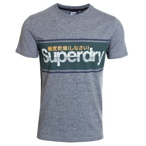 Superdry Core Logo Stripe T-Shirt Academy Grey Twill