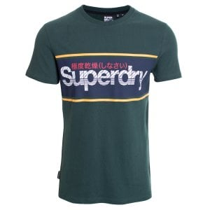 Superdry Core Logo Stripe T-Shirt Academy Green