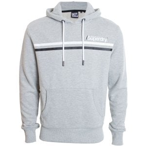 Superdry Core Logo Sport Stripe Hoodie Grey Marl