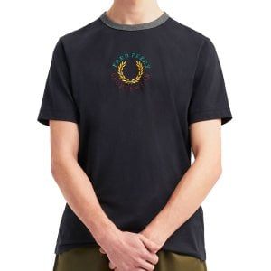 Fred Perry M8533 Embroidered Graphic T-Shirt Navy