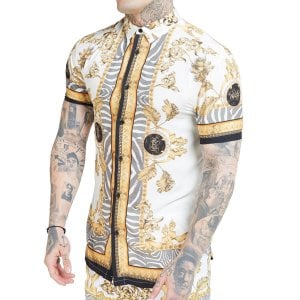SikSilk High Collar Resort S/S Shirt Ocean Off White