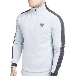 SikSilk Eyelet Poly Tape Track Top Ice Grey/Charcoal