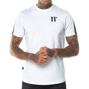 11 Degrees Dot Fade Panelled T-Shirt White