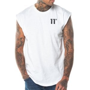 11 Degrees Core Cut Off Sleeves T-Shirt White