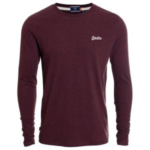 Superdry OL Vintage Embroidery L/S T-Shirt Deep Burgundy Grit