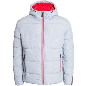 Superdry Sports Puffer Jacket Grey Marl/Risk Red