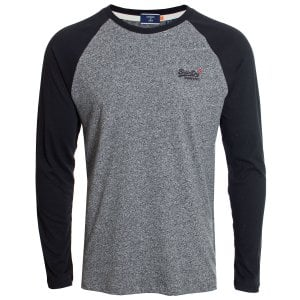 Superdry OL Baseball L/S Top Karst Black Mega Grit