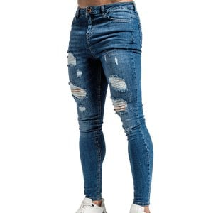 Bee Inspired Luca Distressed Skinny Jeans Dark Blue