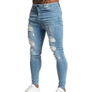 Bee Inspired Luca Distressed Skinny Jeans Blue