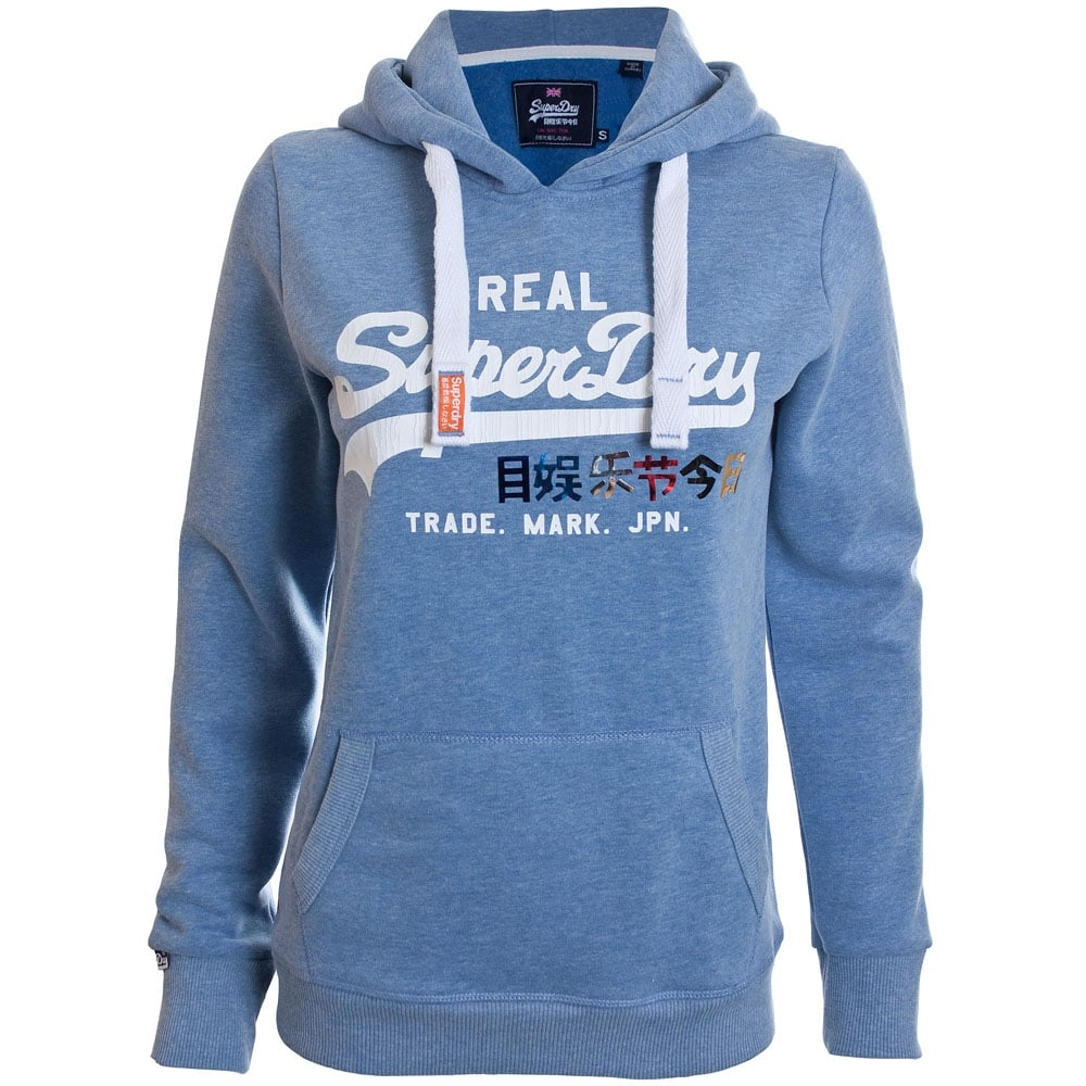 SUPERDRY SHIRT SHOP SEQUIN ENTRY HOOD Cali Blue Snowy