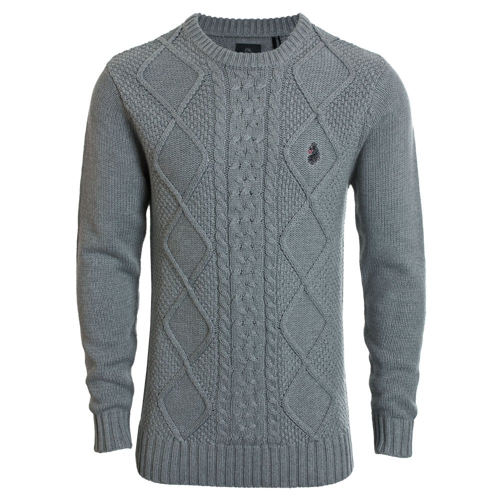 Luke 1977 Mens HORTON COURT Long Sleeve Cable Detail Knitwear
